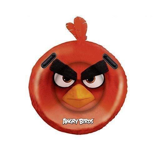 Lively Moments Runde Aufblasbare Luftmatratze mit 2 Haltegriffen / Aufblasrider / Surfboard / Surfrider Angry Birds Vogel in rot ca. 108 cm