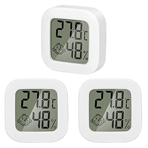 QeeFop Mini Termómetro Higrómetro Digital Interior Higrómetro Digital de Temperatura con Monitor de Temperatura y Humedad para el Hogar, Oficina, la Habitación del Bebé (3 Piezas, Blanco)