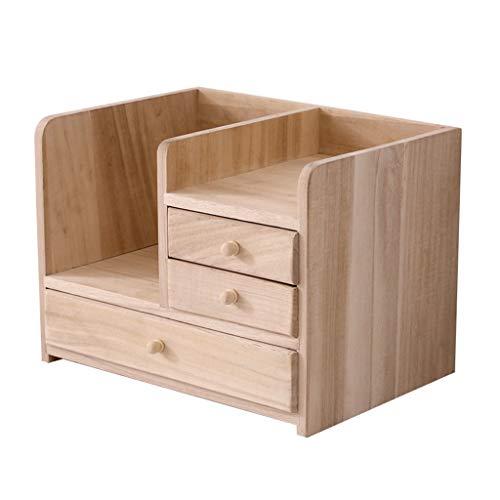QIAOLI Estantería de escritorio de madera con 3 cajones, organizador de escritorio, estantes de almacenamiento para suministros de oficina, estante de escalera