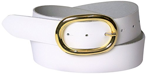FRONHOFER Damengürtel goldene Schnalle oval, 4 cm breiter Ledergürtel, 17613, Größe:Körperumfang 100 cm/Gesamtlänge 115 cm, Farbe:Weiß