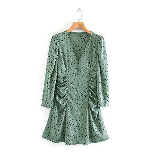 Vestido corto plisado de manga larga para mujer, diseño de lunares, color verde claro, talla S: