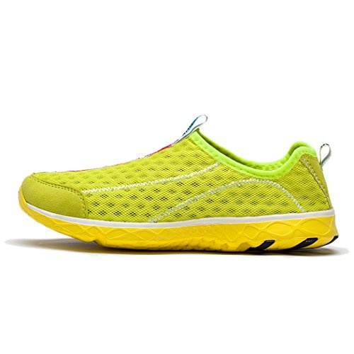 KENSBUY Women's Quick Drying Aqua Water Shoes Mesh Slip on Sneaker (39 EU (7.5 M US Women), Yellow)