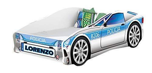 Lettino auto per bambini + materasso per bambini 140 x 70 160 x 80 180 x 80 cm (9 + Nome, 160x80)