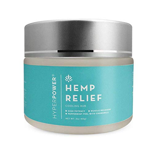 HyperPower Hemp Cooling Muscle Rub Cream, Hemp Oil for Post Workout Muscle Recovery Lotion, Plant based Post Workout Rub, Peppermint, 2 oz jar