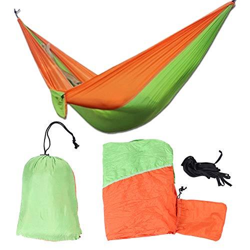Campinghangmat, 250 kg Draagbaar, duurzaam, ademend Camping Travel tweepersoons hangmat hangbed met twee boombanden(Groen + oranje)