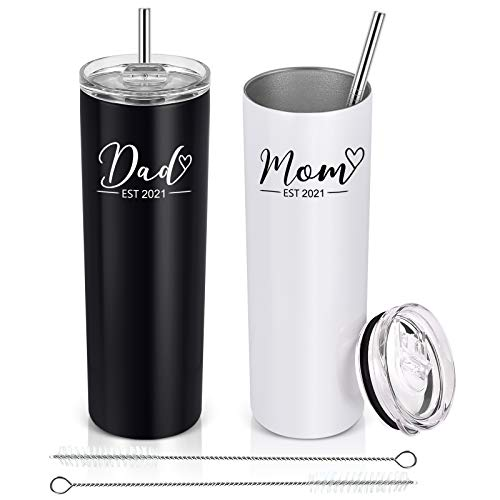 Lifecapido Dad and Mom Est 2021 Stainless Steel Skinny Tumbler, Funny...