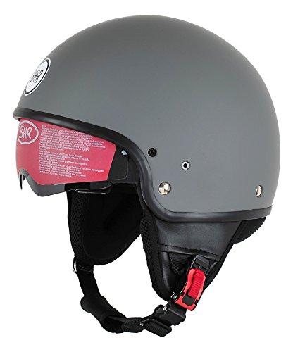 BHR Motorrad Helm 802 Demi-Typ mit Visier Versenkbare,Mattgrau, L (58 cm)