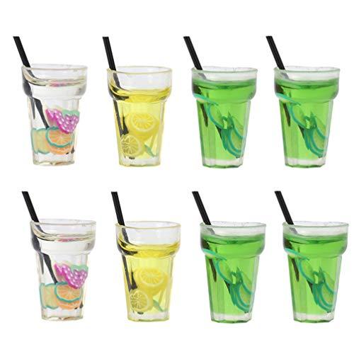 Artibetter 8 Unidades 1: 12 Helados de Fruta Taza de Gelatina Bebida Jugo Té Botella de Bebida Casa de Muñecas Té de Frutas Bebida en Miniatura Adornos Casa de Muñecas Juego de Cocina