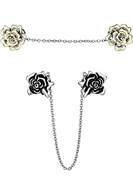 Gejoy 2 Pieces Rose Sweater Shawl Clips Cardigan Dresses Clip Flowers Collar Clip with Chain for Women Girls  Style Set 2