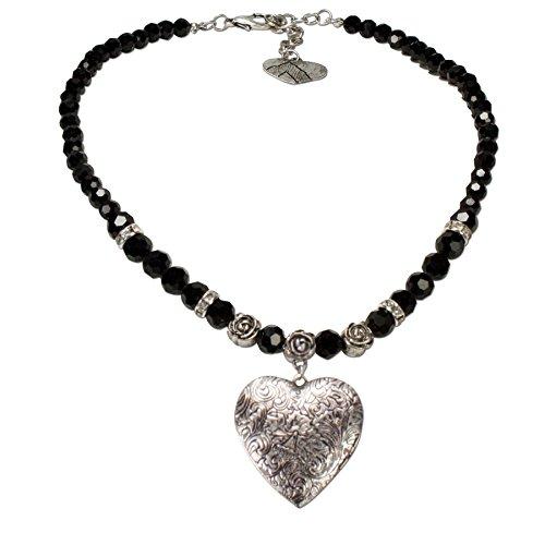 Alpenflüstern Perlen-Trachtenkette Amulett-Herz Trachtenherz - Damen-Trachtenschmuck Dirndlkette schwarz DHK102