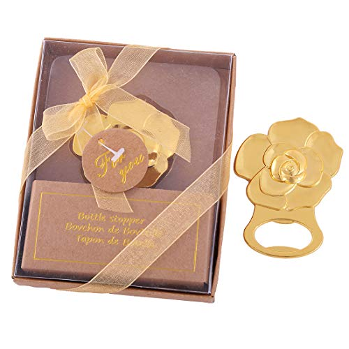 24 pcs Gold Rose Love Bottle Opener Wedding Favors Gifts with Exquisite packaging Box Wedding Gifts For Guests Engagement Anniversaries Souvenirs Party Supplies by WeddParty (Rose,24pcs)
