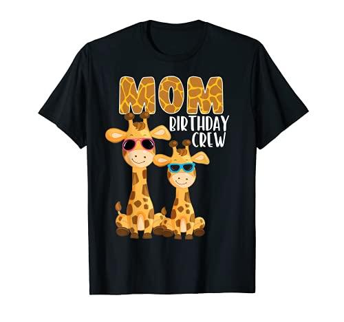 Mamá Cumpleaños Crew Cool Giraffes Zoo Safari Animales Fiesta Camiseta