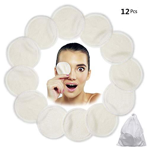 Algodones Desmaquillantes Reutilizables, Love77 12 Pieza Almohadillas desmaquilladoras, Almohadillas de enfermería de algodón de bambú lavables con bolsa de lavandería para toallitas de cara/o