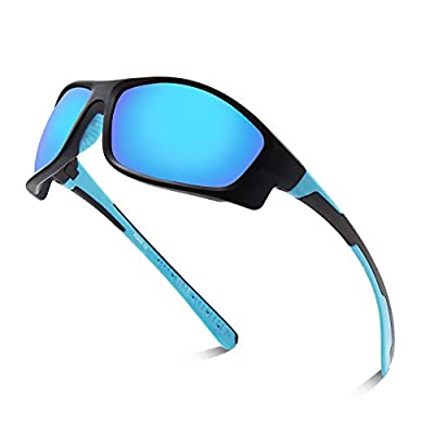 Xiyalai Polarized Sports Sunglasses for Men Women Cycling Running Driving Fishing Golf Baseball TR90 Frame (Black sand/blue)