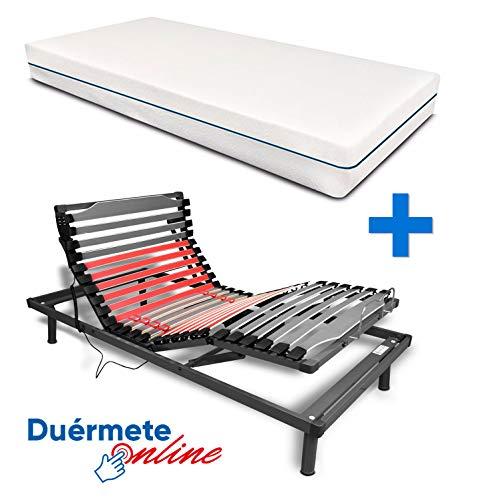 Duermete Cama Eléctrica Articulada Reforzada 5 Planos Ergoluxe + Colchón Viscoelástico Dorsal Visco, Gris, 90x190