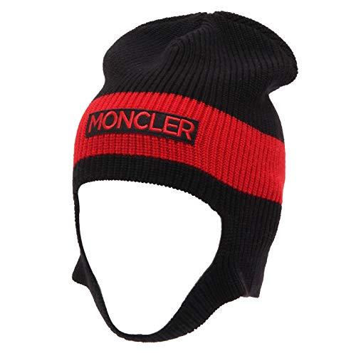 Moncler 4957Z cuffia bimbo boy black/red wool beanie hat [L/55 CM]