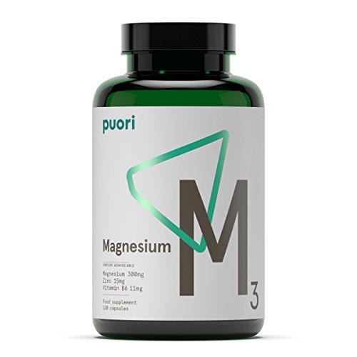 Puori M3 [ Reines Magnesium 300 mg + Zink 15 mg + Vitamin B6 Kapseln + Äpfelsäure ] 120 Hochdosiert Sportnahrung Muskelaufbau, Anti Müdigkeit Tabletten, 108 g