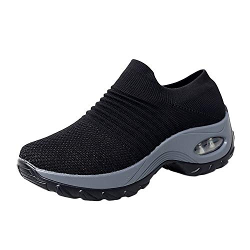 Dermanony Womens Mesh Athletic Shoes Breathable Thick Bottom Comfortable Platform Shoes Air Cushion Rocking Shoes
