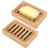 Bambus-Seifenschale, Revo 2 Stück, rustikaler Seifenhalter für Badezimmer, Waschbecken, Dusche,...