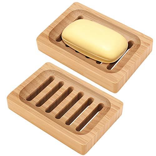 Bambus-Seifenschale, Revo 2 Stück, rustikaler Seifenhalter für Badezimmer, Waschbecken, Dusche, Küche, natürliches Holztablett für Seife, Schwämme