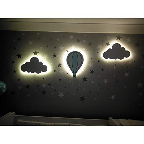 Juego de 2 luces de pared para habitación de bebé, 1 globo, de madera, con LED, 100 pegatinas de pared de estrellas plateadas para regalo