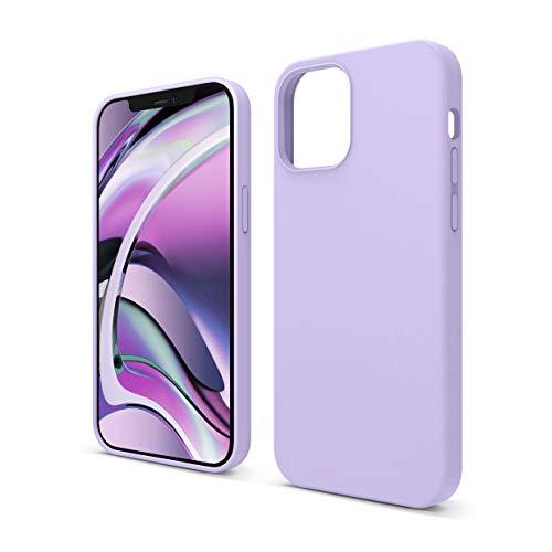 """elago Silicona Líquida Funda Compatible con iPhone 12 Case y Compatible con iPhone 12 Pro Case (6.1""""), Silicona Premium, Protección Funda Protectora 3 Tapas Estructura (Lavanda)"""