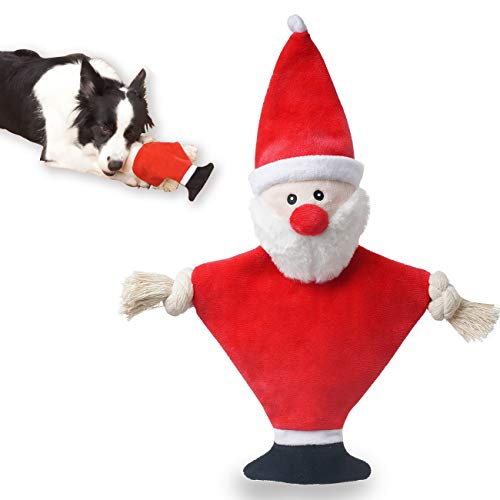 UNIWILAND Christmas Crinkle Squeaky Dog Toys for Puppy, Stuffless Dog Chew Toys Santa Plush Dog Toy with Rope Knots for Small Medium Dogs (Santa)