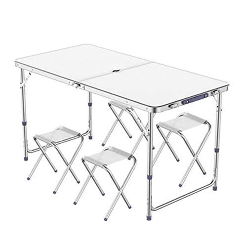 Tisch- und Stuhlset im Freien Outdoor Camping Aluminium wasserdicht ultralicht langlebiger Tisch und Stuhl, Picknick tragbarer Klapptisch und -Stuhl, 120x60cm (Color : White)