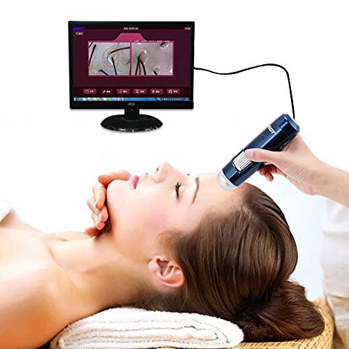 Skin Diagnosis Hair Analyzer, Professional 5-200X Wireless Skin Hair Scalp Detector Digital Microscope Skin Analyser 200MP Camera Wifi and USB Connect(US)