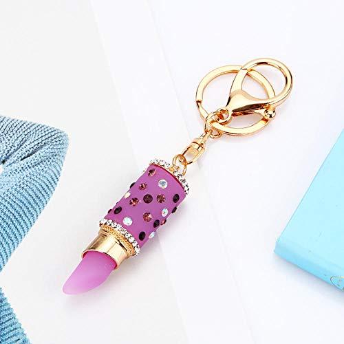 Sinzong Sleutelhanger voor dames, gelei, lippenstift, autosleutelhanger, vrouwelijk tasje, hanger, sleutelhanger paars