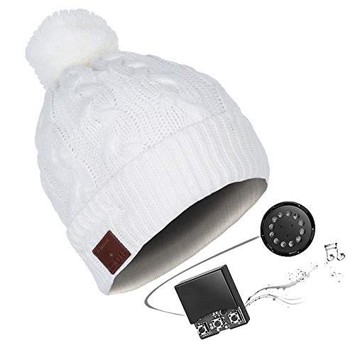 HK Music Headset Beanie Bluetooth   Mütze Funkkopfhörer Stereo-Lautsprecher-Mikrofon Wireless Cap   kompatibel mit Smartphone,ivorywhite