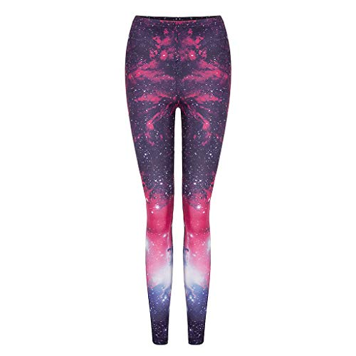 Womens Galaxy Star Printed High Waist Leggings Pants High Waist Leggings Elastic Sports Yoga Pants (Free Size, Red)