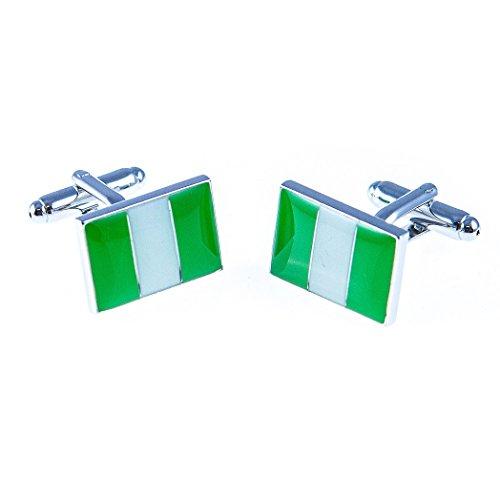 MRCUFF Nigeria Flag Pair Cufflinks in a Presentation Gift Box & Polishing Cloth
