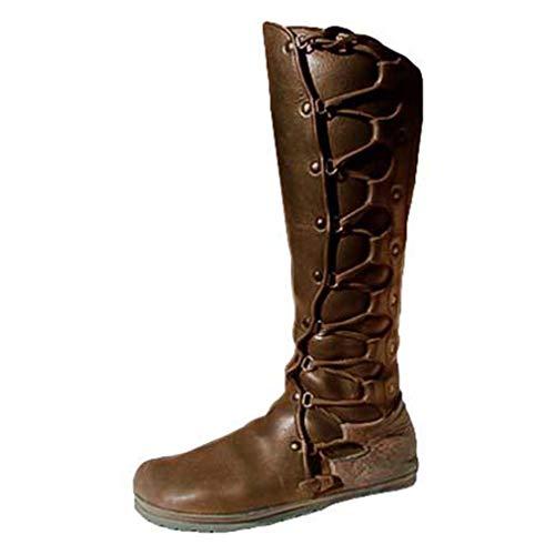 Mxssi Damen PU-Lederstiefel Niet Schnüren Lange Stiefel Retro Mittelalter Gotisch Hohe Stiefel Runder Zeh Flacher Absatz Mittele Stiefel rutschfest Freizeitstiefel