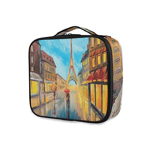 SUGARHE Couple with Umbrella On Historical Street Eiffel Tower Paris,Makeup Case Makeup Bag Large Toiletry Bag Travel Storage