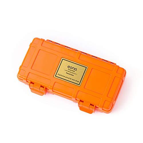 Amazon Marke: Eono Essentials Reisehumidor für Zigarren, schützt vor Zerdrücken, Luftdicht, Wasserdichtes Zedernholz, Zigarrenhalter, Zigarrenbox, fasst bis zu 3 Zigarren, Orange