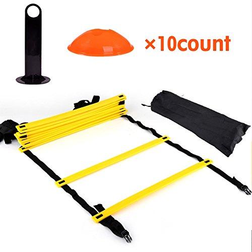 Nikou Agility Ladder Speed Training Ladder Kit-12 Verstelbare Platte Rungs en 10 Kegels (Orange/Geel) voor Hoge Intensiteit Voetwerk met Draaggreep voor Kinderen Volwassenen
