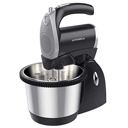 Hand Mixer Electric Stand Mixer, 5 Speeds Handheld 2 in 1 Cake Baking Mixer with Stainless Steel 3QT Mixing Bowl, 400 Watt, Turbo Function, Beaters & Dough Hooks Making Cookies Cakes Dough, Black