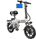 Bicicletas Eléctricas, Bicicletas rápidas y Eléctrica en adultos de peso ligero plegable compacto EBike for ir al trabajo y ocio - 14 pulgadas ruedas, Suspensión trasera, pedaleo asistido unisex de bi