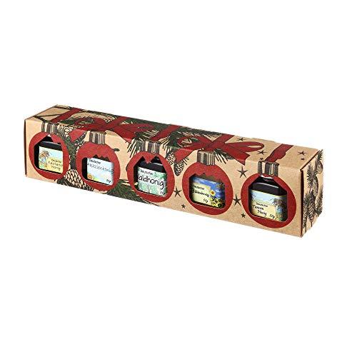 Puntzelhof Weihnachts Genuss-Box – Feinkost Geschenk-Set, 5x50g erlesener und handgemachter Deutscher Honig, Allgäuer Delikatessen mit Weihnachtlicher Geschenkverpackung