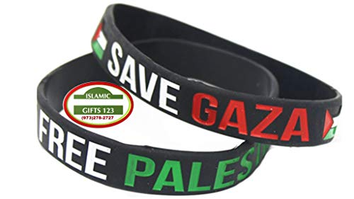 Palestine Flag Wristbands {12 Pack} Silicon Band Free Palestine Free Gaza Freedom Revolutionary Badges Jerusalem Souvenirs Arab Shemagh Arafat فلسطين AL-AQSA Gaza Islamic Gifts (Black)