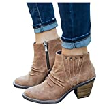 Boots for Women Casual,Womens Platform Ankle Booties Chelsea Slip on Chunky Block Heel Leather Combat Boots