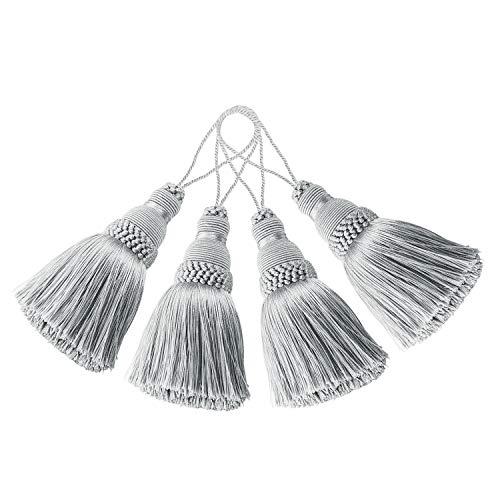 BEL AVENIR 4 Stück elegante Polyester-Quasten bunte Bastel-Quasten für Schlüsselanhänger Riemen DIY Zubehör (Silber)