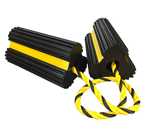 Heavy Duty Rubber Dual Wheel Chocks Front and Back, RV Leveling Blocks Non Slip Base with Nylon Rope Yellow Reflective Tape for Travel Trailers, Car, Camper, Truck 1 Pair