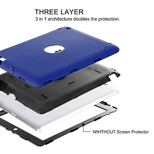 iPad 2 Case,iPad 3 Case,iPad 4 Case,BENTOBEN Heavy Duty Rugged Shock-Absorption/High Impact Resistant Hybrid Three Layer Armor Full Body Protective Case Cover for iPad 2/3/4 Retina (Navy Blue&Black)