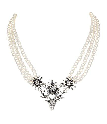 SIX Damen Kette, Collier, DREI Reihen weiße Perlen, Edelweiß, Blumen, Hirsch Geweih, silberfarben, Strasssteine, Oktoberfest, Karneval (730-498)