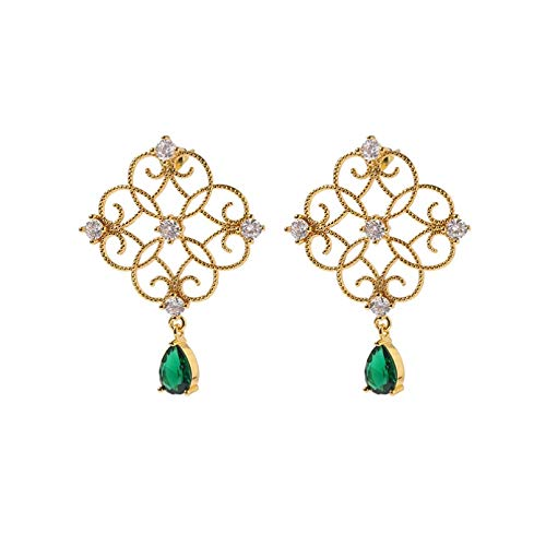 BAJIE Earring Ladies Fashion Dinner Fashion New Gold Green Drop Earrings