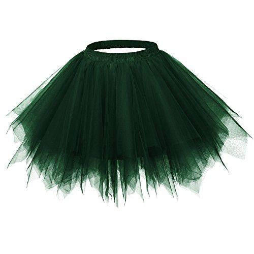 Ellames Women's Vintage 1950s Tutu Petticoat Ballet Bubble Dance Skirt Dark Green S/M