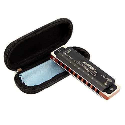 East top T008K Armónica D diatónica de 10 agujeros y 20 tonos con estuche negro, Armónica azul para adultos principiantes, estudiantes y niños como mejor regalo