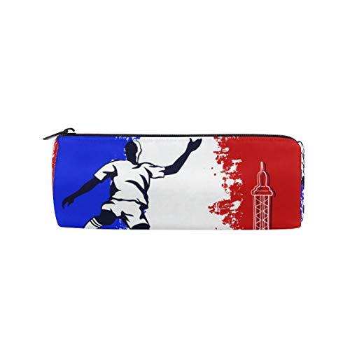 RXYY - Estuche para lápices, diseño de la Torre Eiffel de fútbol de París, con cremallera, lona, caja de almacenamiento de cosméticos, bolsa de papelería para estudiantes, escuela, oficina